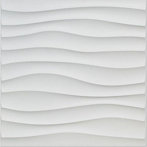 "Art3d Paintale PVC Wall Panel White Wave Design 19.7/"" x 19.7/"",12Tiles,32 SF"
