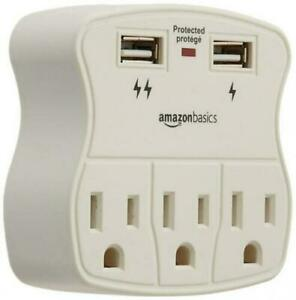 AmazonBasics-CU23011W-3-Outlet-Surge-Protector-with-2-USB-Ports