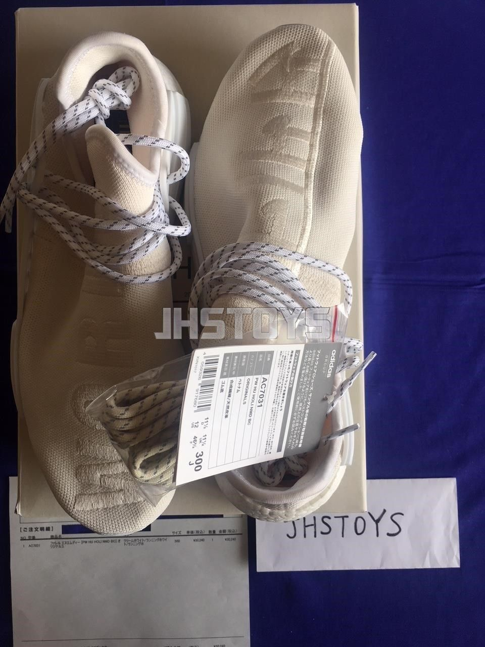 US 12 Adidas Pharrell HU Human Race Holi Blank Canvas Canvas Canvas Cream White AC7031 Japan 243776