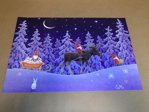Scandinavian Swedish Tomte Gnome /& Moose Print Poster #9 Eva Melhuish