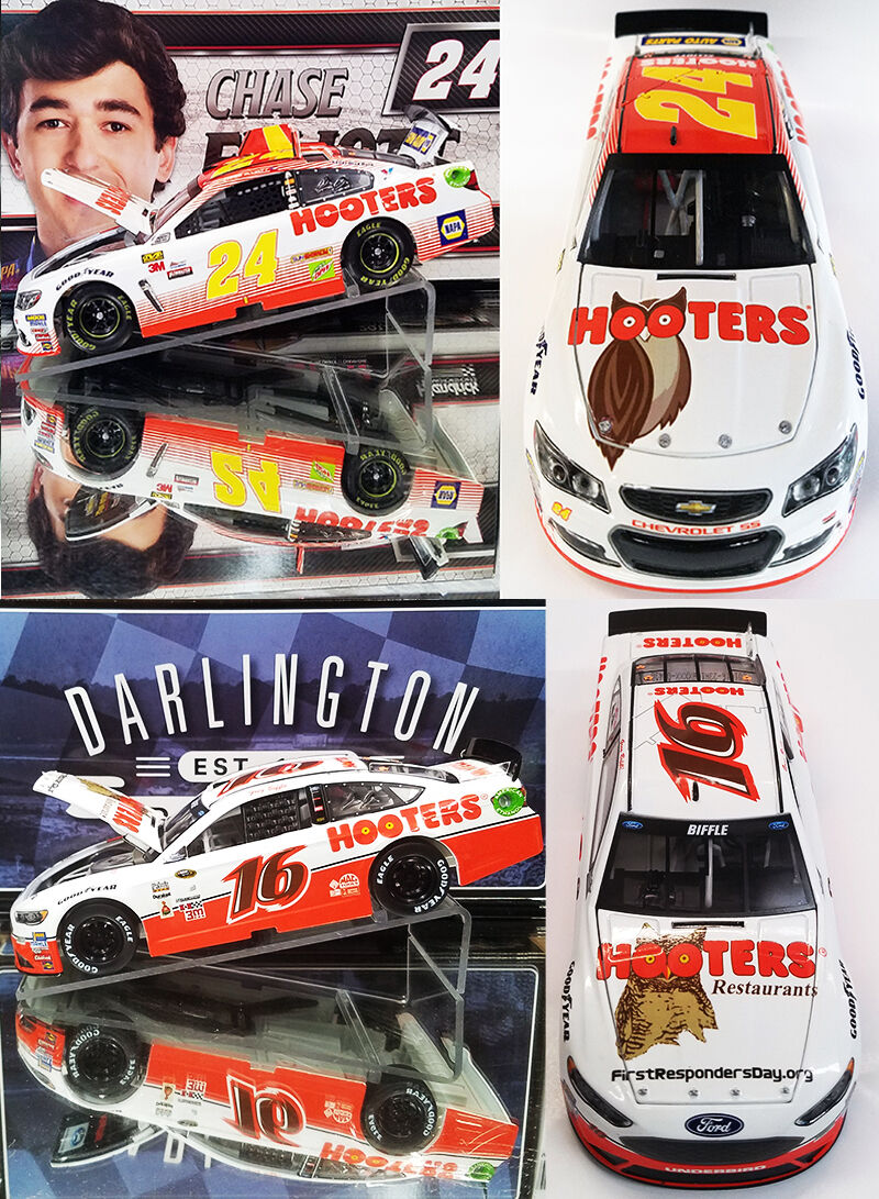CHASE ELLIOTT & GREG BIFFLE  2-CAR COMBO DEAL ( HOOTERS CARS) 1 24 ACTION DIECAS