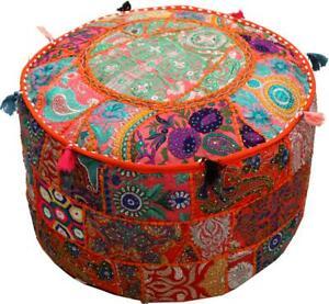 Phenomenal Details About Orange 22 Embroidered Round Ottoman Pouf Stool Chair Pouffe Seat Indian Decor Frankydiablos Diy Chair Ideas Frankydiabloscom