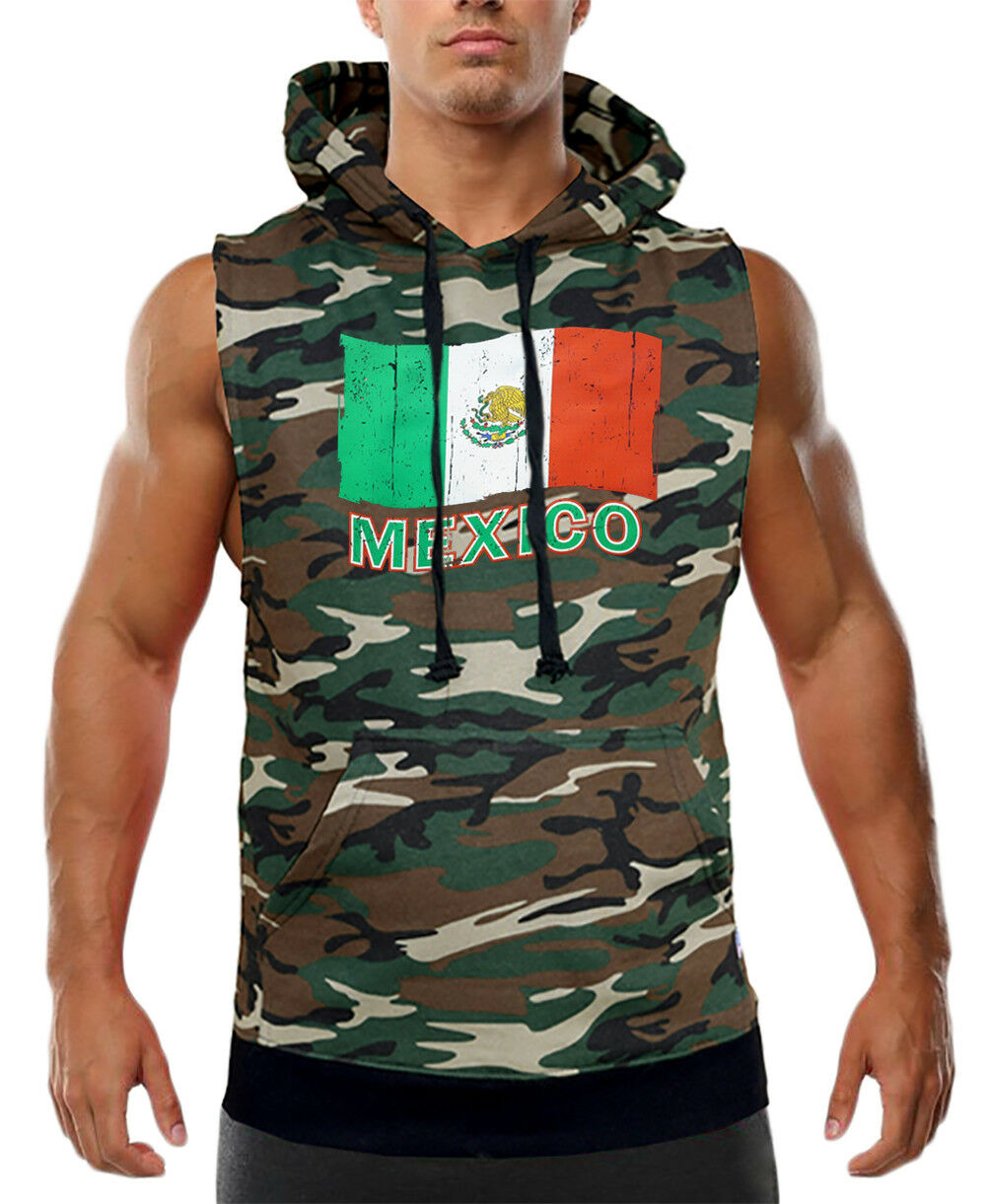 Men's Grunge Mexico Flag Camo Sleeveless Vest Hoodie Mexican Pride Symbol Aztec