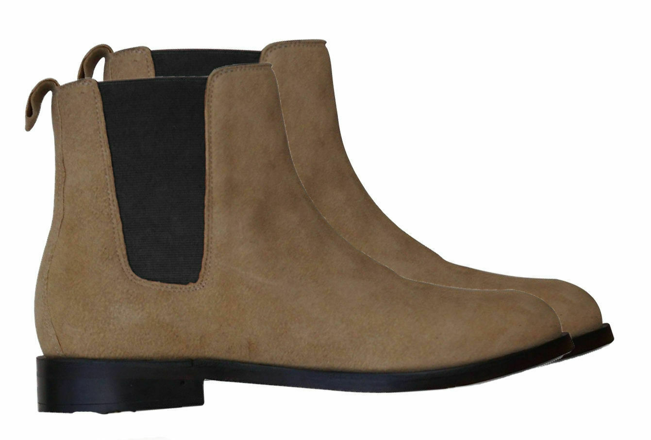 Mens Handmade Boots Chelsea Beige Suede Leather Ankle Formal Wear Casual shoes