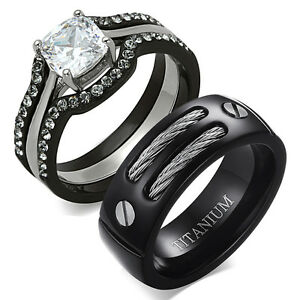 black gold wedding ring sets his amp hers 4 pc black stainless steel titanium wedding 1852