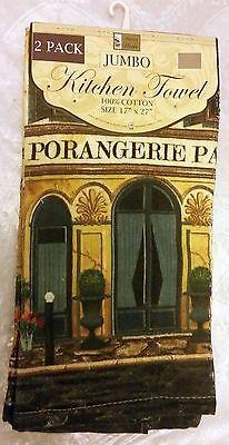 "SET of 2 SAME PRINTED JUMBO TOWELS, 100/% cotton BH 17/""x27/"" PORANGERIE PARIS"