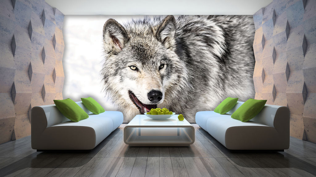 VLIES Tapete Fototapeten Tapeten Fototapete Tier Natur Wolf Schnee 14N2939VEXXXL
