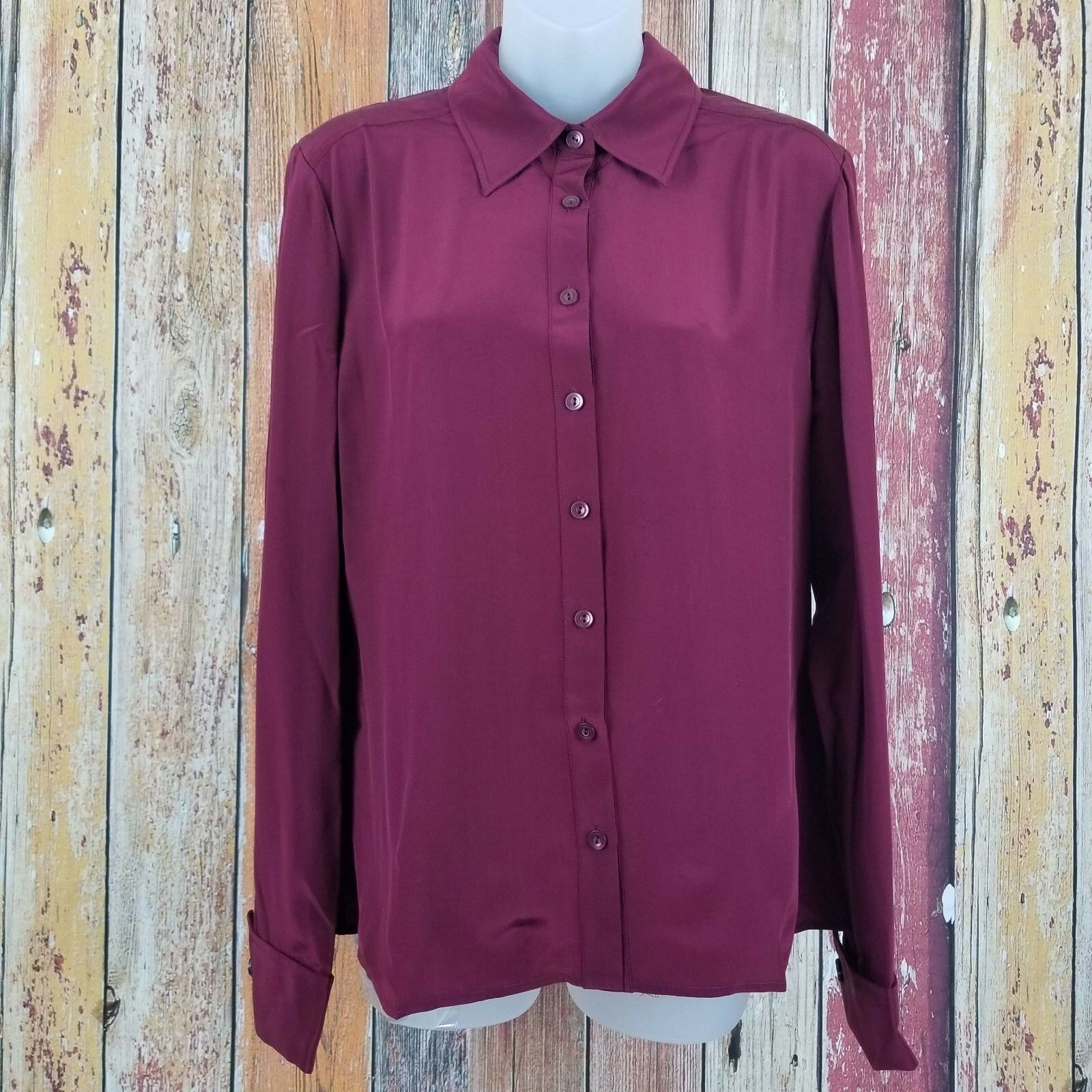 NWT  St. John Collection Women's Maroon 100% Silk Oxford Blouse Size 8