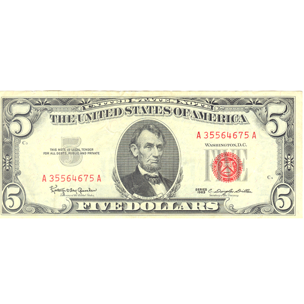1963 $5 red seal legal tender banknote F-VF 1