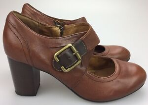 Details about Clarks Indigo Women's 8.5 M Heels Mary Jane Brown Leather Side Zip Strap 63155