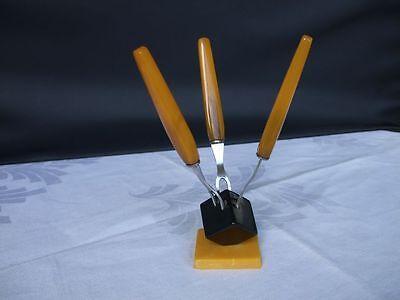 3 Alte Bakelit/catalin Gabeln Mit Halter, Art Deco 100% Hochwertige Materialien