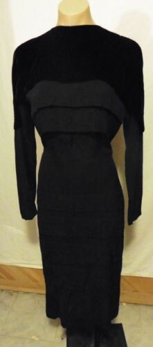 UNIQUE 40s 50s Black Rayon Crepe Tiered Dress w/Ve