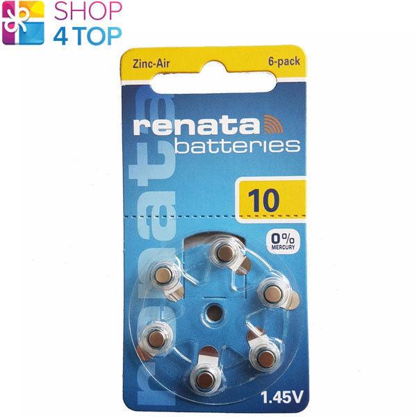 6 renata hearing aid batteries size 10 pr70 1.45v zinc air not mercury 2022