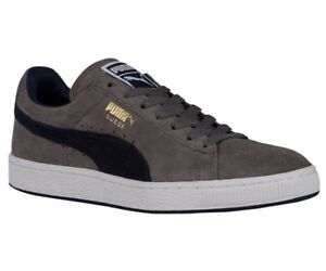 Men-Puma-Suede-Classic-Sneakers-356568-82-Grey-Peacot-100-Authentic-Brand-New