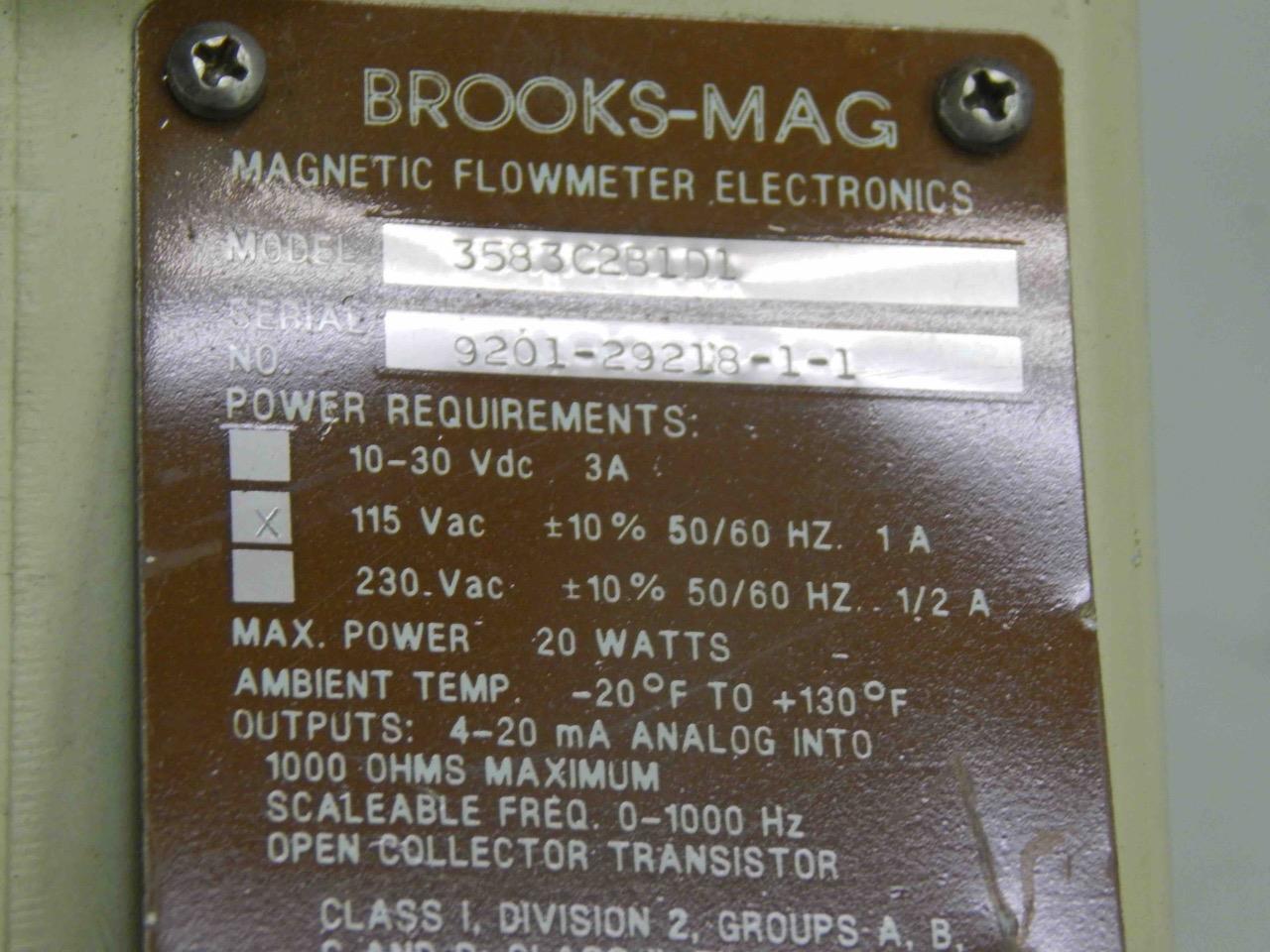 32 32 32 Brooks 3583C2B1D1 Caudalímetro magnético Mag 3580 Series 115Vac 5a879b