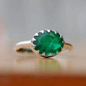 925-Sterling-Silver-Natural-Colombian-Emerald-Oval-Shape-Birthstone-Ring-Gift