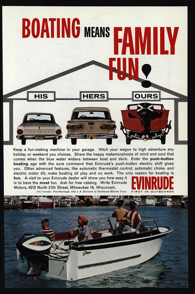 1962 EVINRUDE Boat Motor - Boating Means Family Fun! - His Hers Ours VINTAGE AD