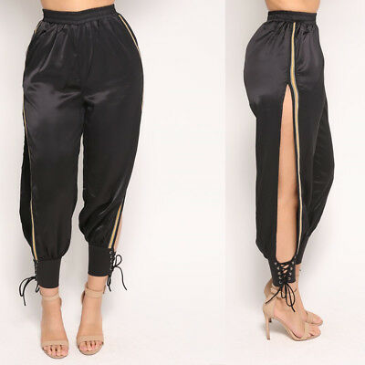 Fashion Women Solid Color Paillettes Slimming Bodycon Long Pencil Pants Clubwear