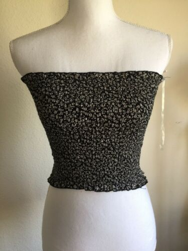 Brandy Melville black floral ruffle smocked cleo tube top NWT XS//S