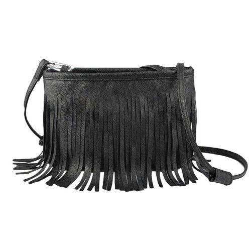 Fashion Women Solid Color Big Capacity Small Tassel Crossbody Shoulder Bag Pouch