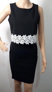 Ex-QUIZ-BLACK-Bodycone-Dress-White-lace-trim-Overlay-Size-8-16
