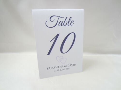 Personalised Wedding White Table Number Place Cards Free Standing Top 2 Hearts