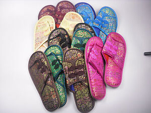 Handmade Chinese Style Silk tapestry Satin Flower men's Shoes Slippers Size 9.5