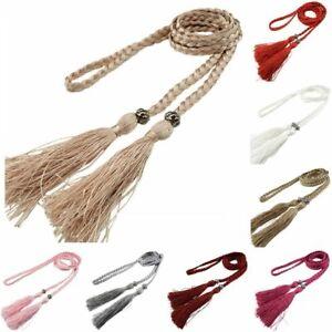 Tie-Self-Tie-Rope-Thin-Decorated-Waist-Bowknot-Woven-Tassel-Belt-Women-Braided