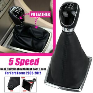 5 Speed Gear Stick Shift Knob Gaiter Boot Cover Leather For Ford Focus MK2 05-12