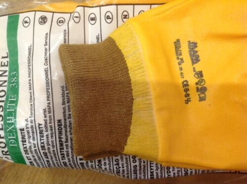 Mapa professionnel Dexilite 383 lined gloves YELLOW BROWN TRIM size 8 //8.5 x 3
