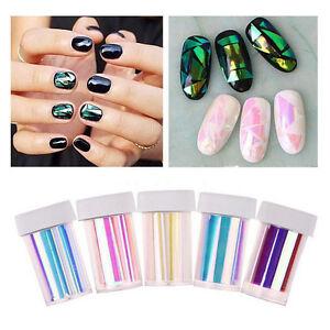 Details about Fashion Broken Glass Foils Finger DIY Nail Art Stencil Decal  Stickers 5 Color_WK