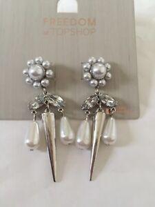 Freedom At Topshop Silver Pearl Drop Earrings