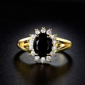 24k-Yellow-Gold-Filled-Black-Sapphire-Crystal-Fashion-Cluster-Rings-For-Women