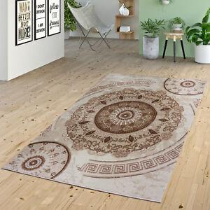 teppich kurzflor ornamente kreise versace design muster in beige creme braun ebay. Black Bedroom Furniture Sets. Home Design Ideas