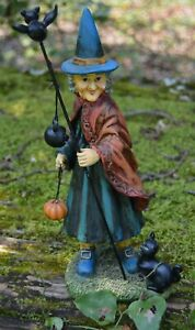 Witch Statue Horror Gothic Black Cat Bat Pagan Halloween Figurine Decor Gift
