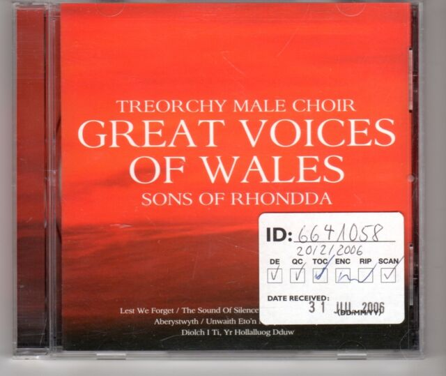 (HG994) Treorchy Male Choir, Great Voices Of Wales - 2006 CD