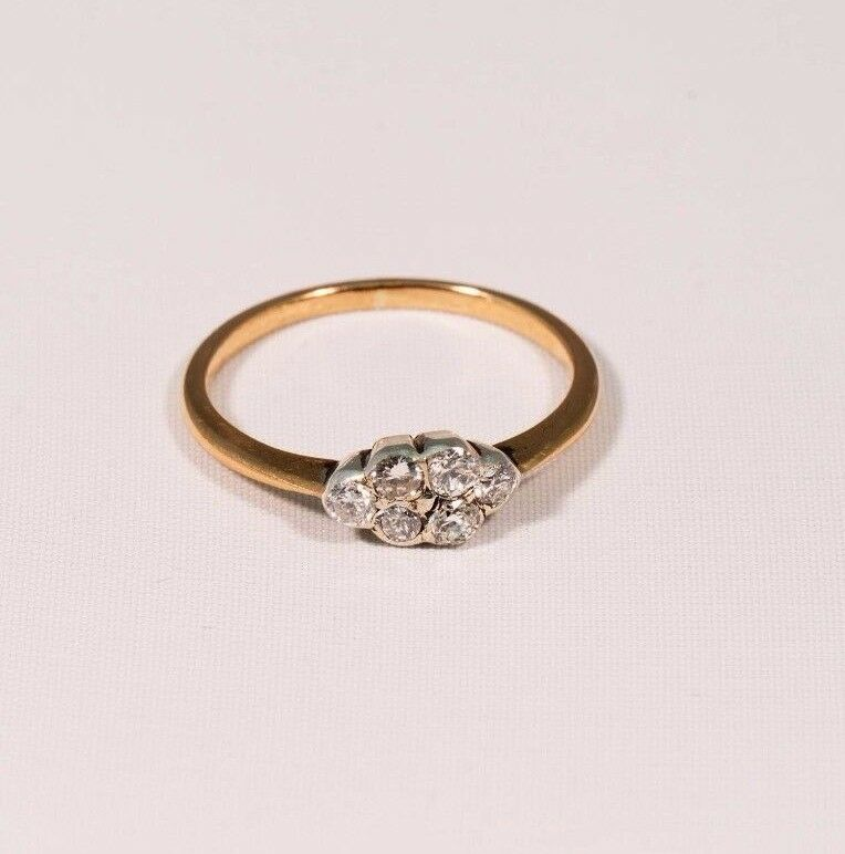 14K Yellow gold 1920's Vintage 6 Diamond Cluster Ring, 1 2ct TW, G SI1, size 5.5