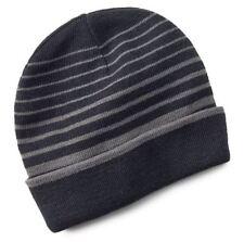 Tek Gear Men's One Size Black Grey Stripe Reversible Warm-Tek Knit Beanie NEW