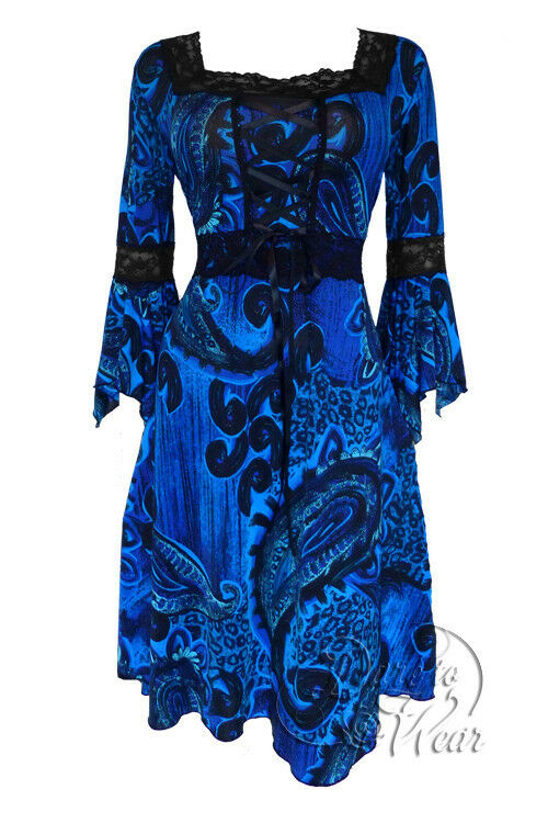 Dare to Wear Wear Wear Victorian Gothic Plus Size Renaissance Corset Dress in Deep Sea 9d632c