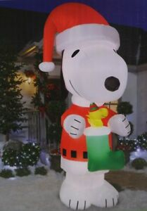 image is loading huge gemmy peanuts snoopy woodstock christmas airblown inflatable - Snoopy Blow Up Christmas Decorations