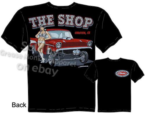57 Chevy Gasser T-shirt 1957 Drag Race Tee PinUp Girl Shirts Sz M L XL 2XL 3XL
