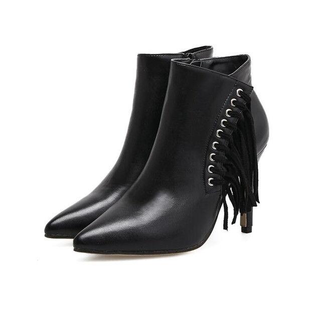 Bottes stivaletti bassi  stiletto 10 cm noir caviglia pelle sintetica 9512