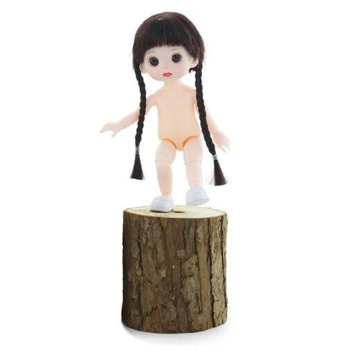 16cm Long Hair Girl Flexible Nude Doll Body Eyeball Practice White Skin