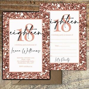 BIRTHDAY-INVITATIONS-18th-Rose-Gold-Glitter-Effect-Personalised-Blank-PK-10
