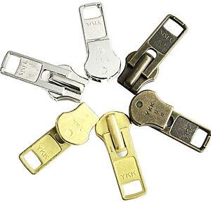 YKK-Zipper-Repair-Kit-Solution-10-Auto-Lock-Sliders-Aluminum-Antique-or-Brass