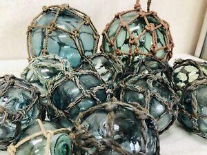 Y3084 FLOAT Glass Floating Ball fishing bouy Set Japanese antique vintage Japan