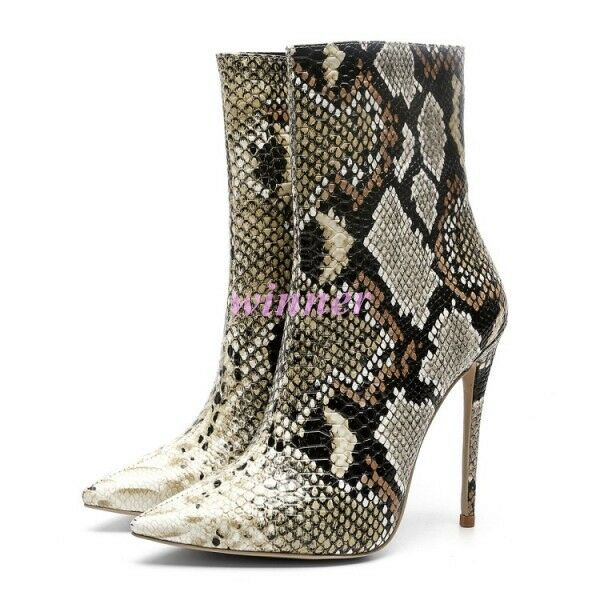 2019 Sexy Occident Occident Occident Donna snakeskin Stilettos Pointed Toe Side Zip Ankle Stivali fd16b7