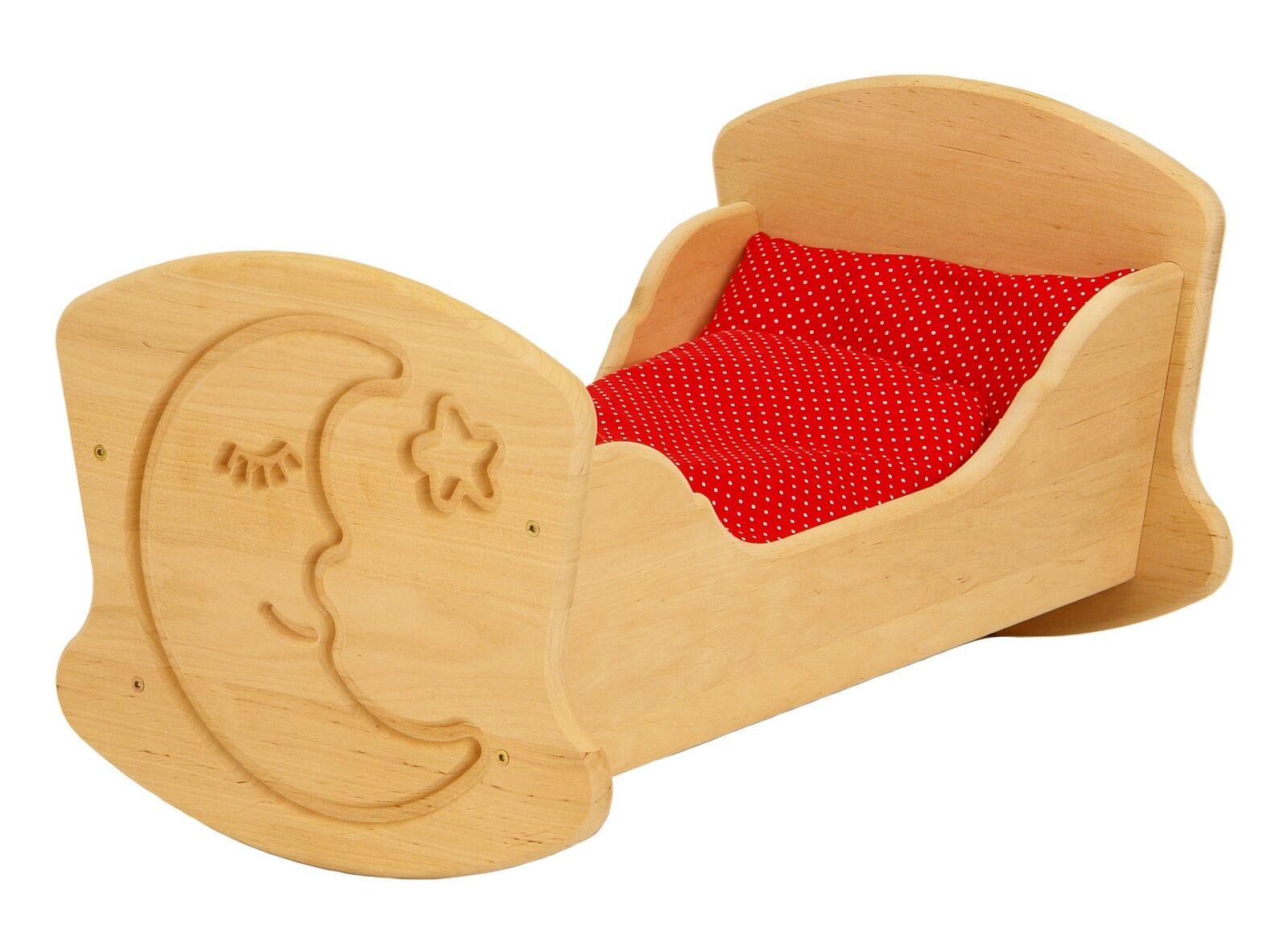 Drewart Puppenwiege aus Holz Puppenbett, Holzspielzeug Holzwiege 933 3015