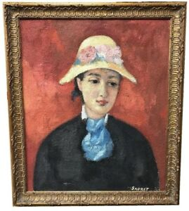 OIL-WITH-SAND-ON-CANVAS-SIGNED-SAURET-PORTRAIT-OF-A-WOMAN