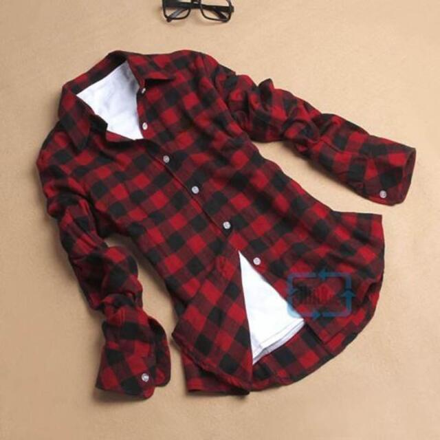 Button Down Plaid & Checks Flannel Casual Lapel Shirt Women Shirt Tops Blouse BS